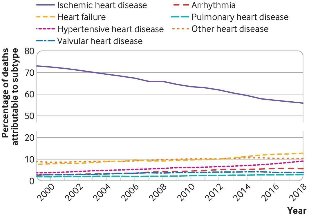 「心臓病による死亡」の、それぞれの心臓病が占める割合